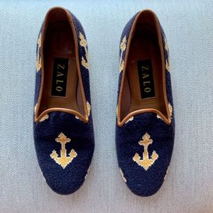 Zalo Needlepoint loafers with Anchor Motif